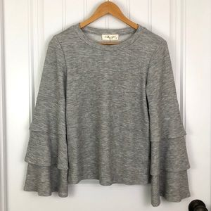 Molly Green Tiered Bell Sleeve Sweater gray Small
